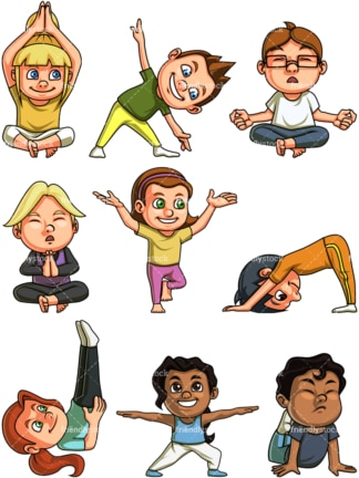 Kids doing yoga. PNG - JPG and vector EPS file formats (infinitely scalable). Images are isolated on transparent background.