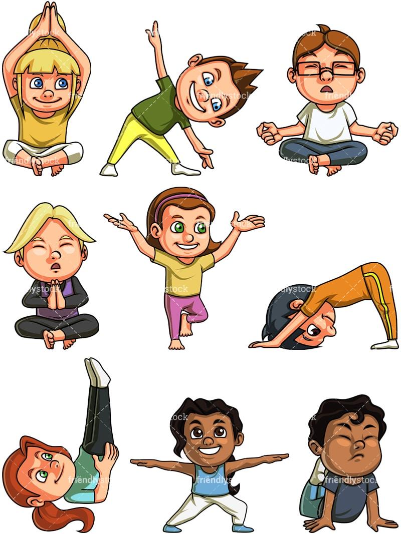Kids Doing Yoga Cartoon Clipart Vector Friendlystock