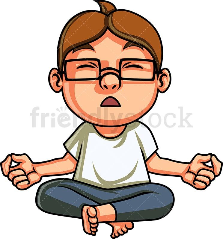 Yoga Kid Meditating Cartoon Clipart Vector Friendlystock