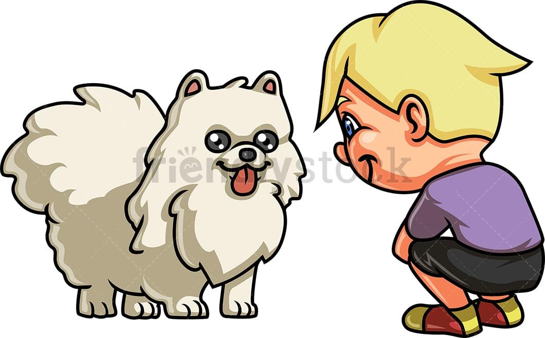 Boy With White Dog Cartoon Clipart Vector Friendlystock