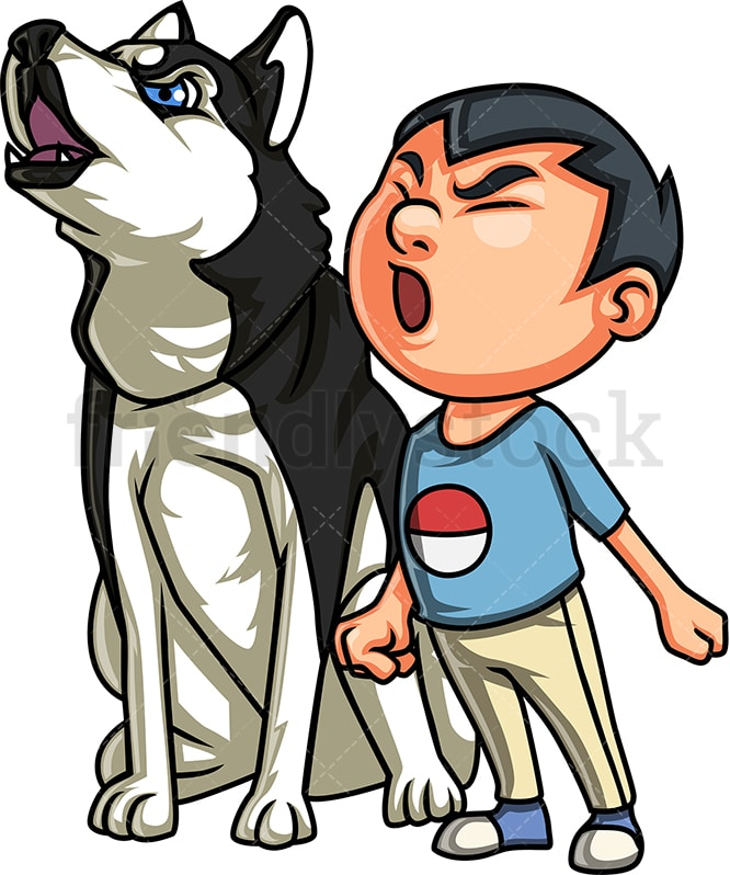 Boy Playing With Dog Cartoon Clipart Vector