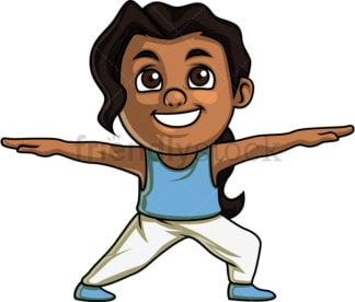 Black girl doing warrior two yoga pose. PNG - JPG and vector EPS. Isolated on transparent background.