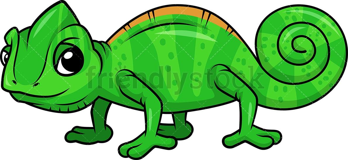 Cute Chameleon Cartoon Clipart Vector Friendlystock