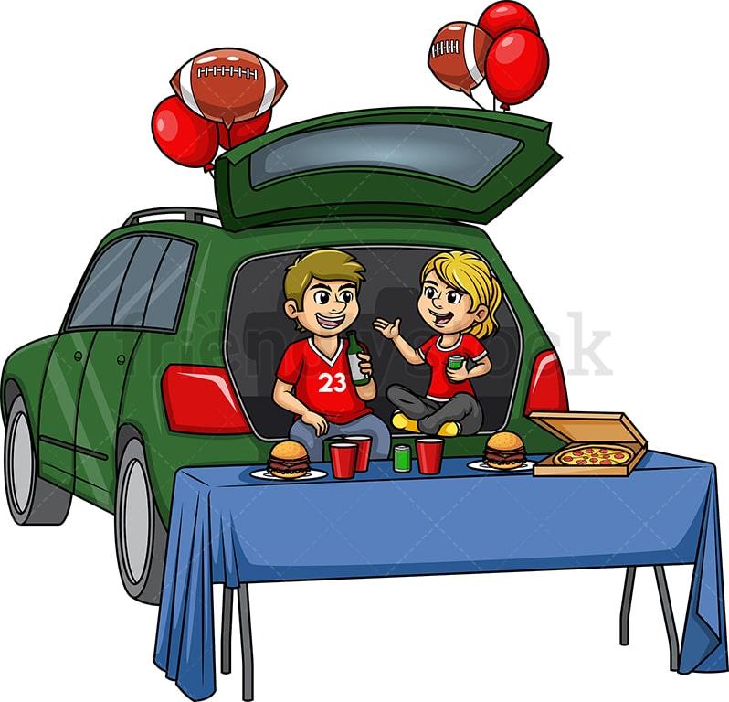 Sports Fans Tailgating Cartoon Clipart Vector Friendlystock