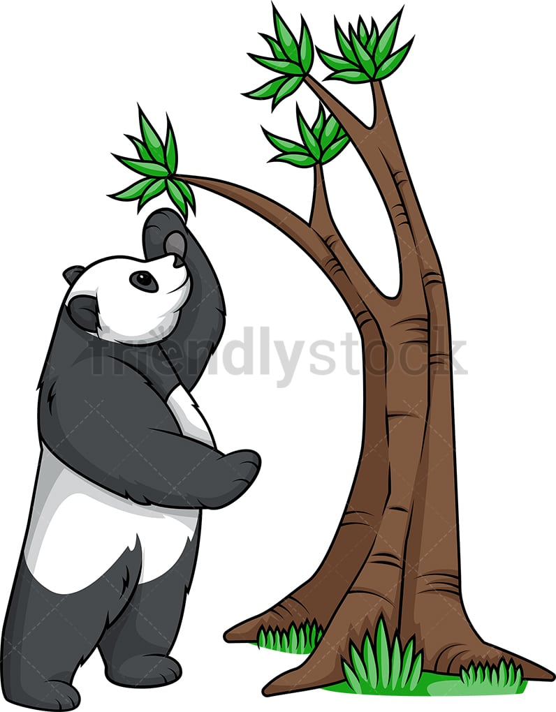 Panda Bear Reaching Tree Branch Cartoon Clipart Vector Friendlystock