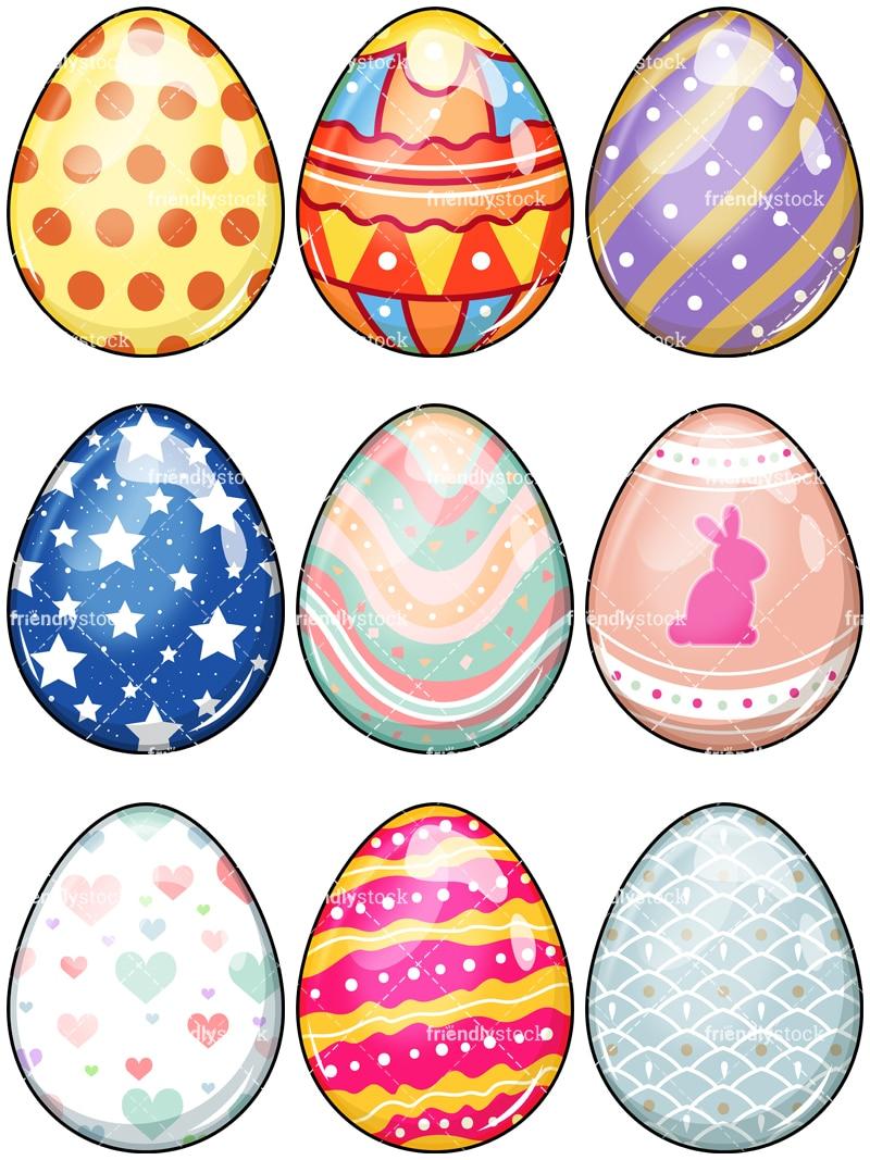 0 easter eggs cartoon clipart