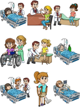 Women needing medical care. PNG - JPG and vector EPS file formats (infinitely scalable).