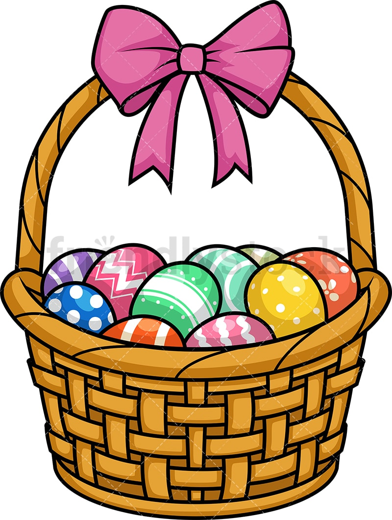 Easter Eggs Basket Cartoon Clipart Vector - FriendlyStock