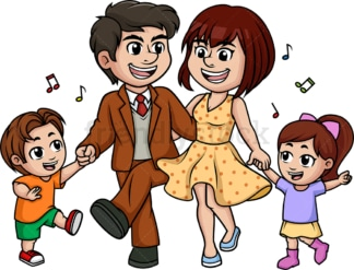 Family dancing. PNG - JPG and vector EPS (infinitely scalable).