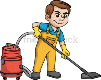 Man vacuuming the floor. PNG - JPG and vector EPS (infinitely scalable).