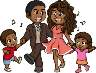 African-American (black) family dancing. PNG - JPG and vector EPS (infinitely scalable).