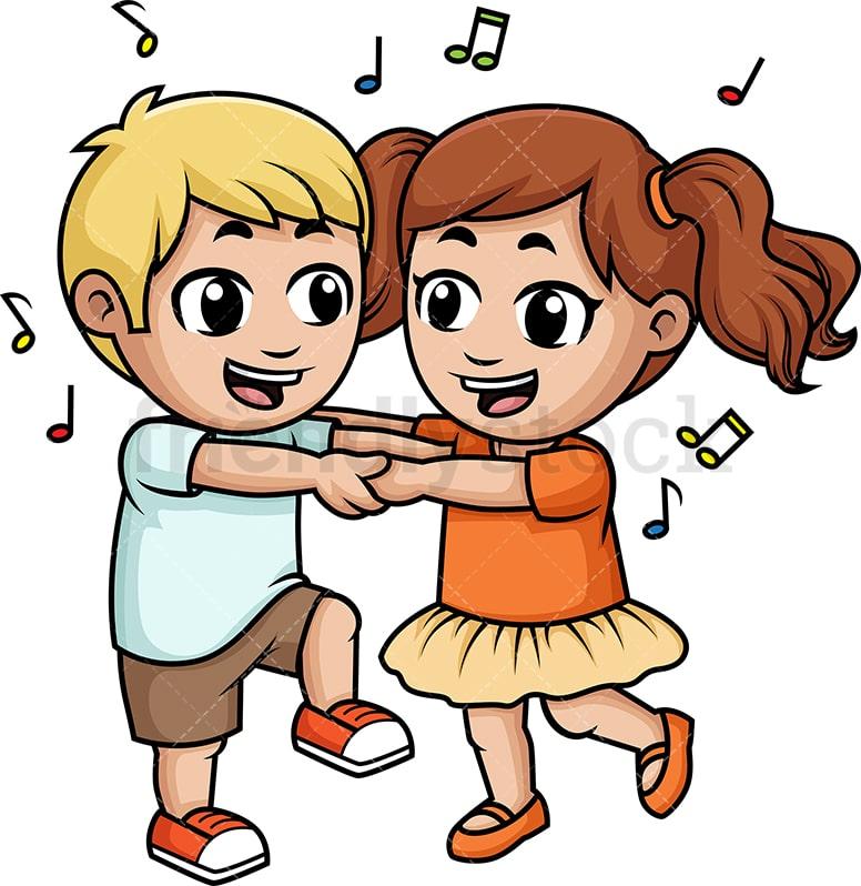 Kids Dancing Together Cartoon Clipart Vector Friendlystock