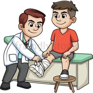 Doctor tending to broken leg. PNG - JPG and vector EPS (infinitely scalable).