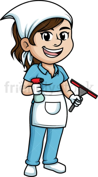 Female window cleaner. PNG - JPG and vector EPS (infinitely scalable).