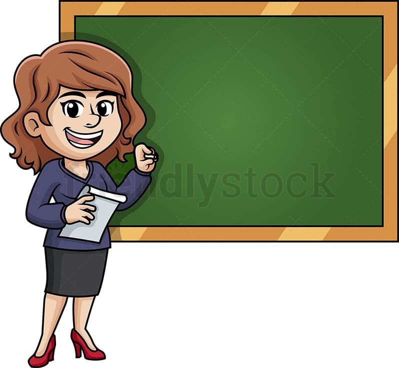 Female Writing Teacher Cartoon Clipart Vector Friendlystock