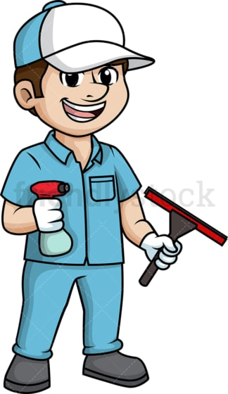 Male window cleaner. PNG - JPG and vector EPS (infinitely scalable).