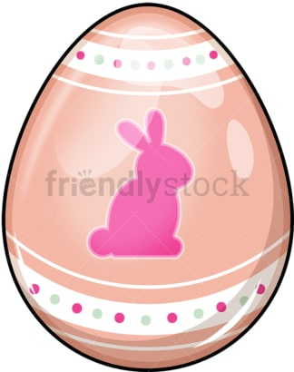 Easter egg with bunny figure. PNG - JPG and vector EPS (infinitely scalable). Image isolated on transparent background.