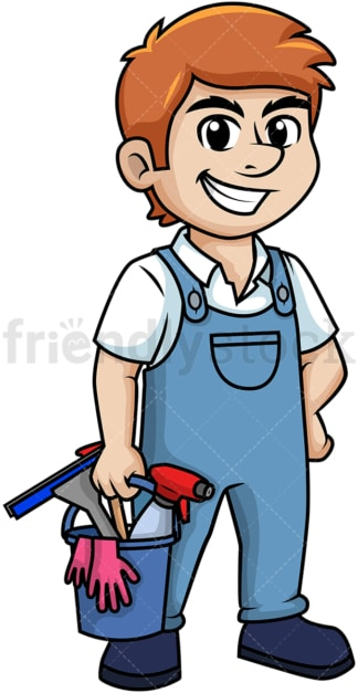 Man holding cleaning tools. PNG - JPG and vector EPS (infinitely scalable).
