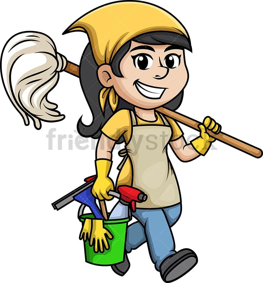 Cleaning Lady Cartoon Clipart Vector Friendlystock