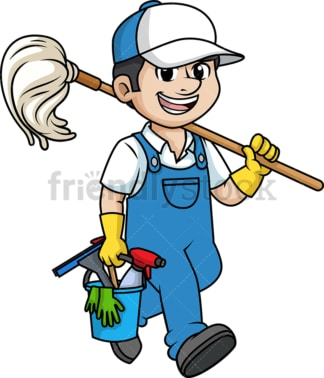 Professional male cleaner. PNG - JPG and vector EPS (infinitely scalable).
