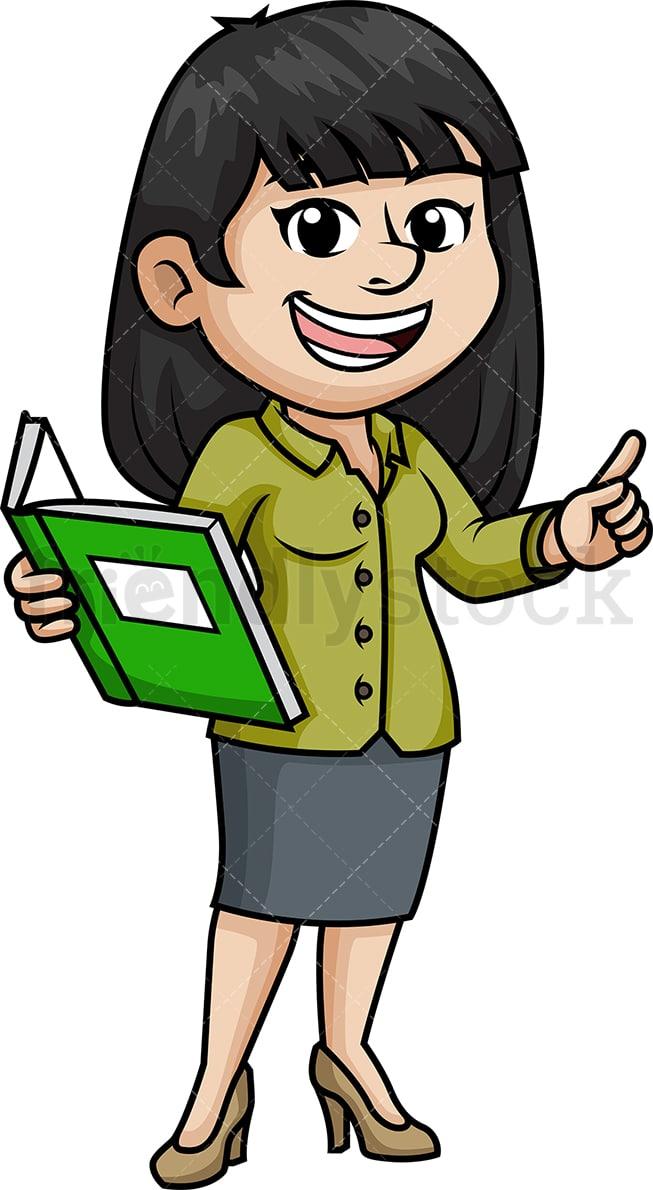 Female Asian Teacher Cartoon Clipart Vector Friendlystock