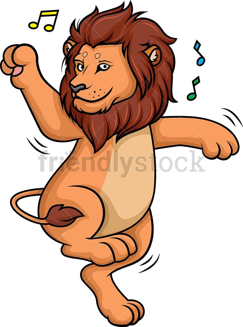 Lion Dancing Cartoon Clipart Vector Friendlystock