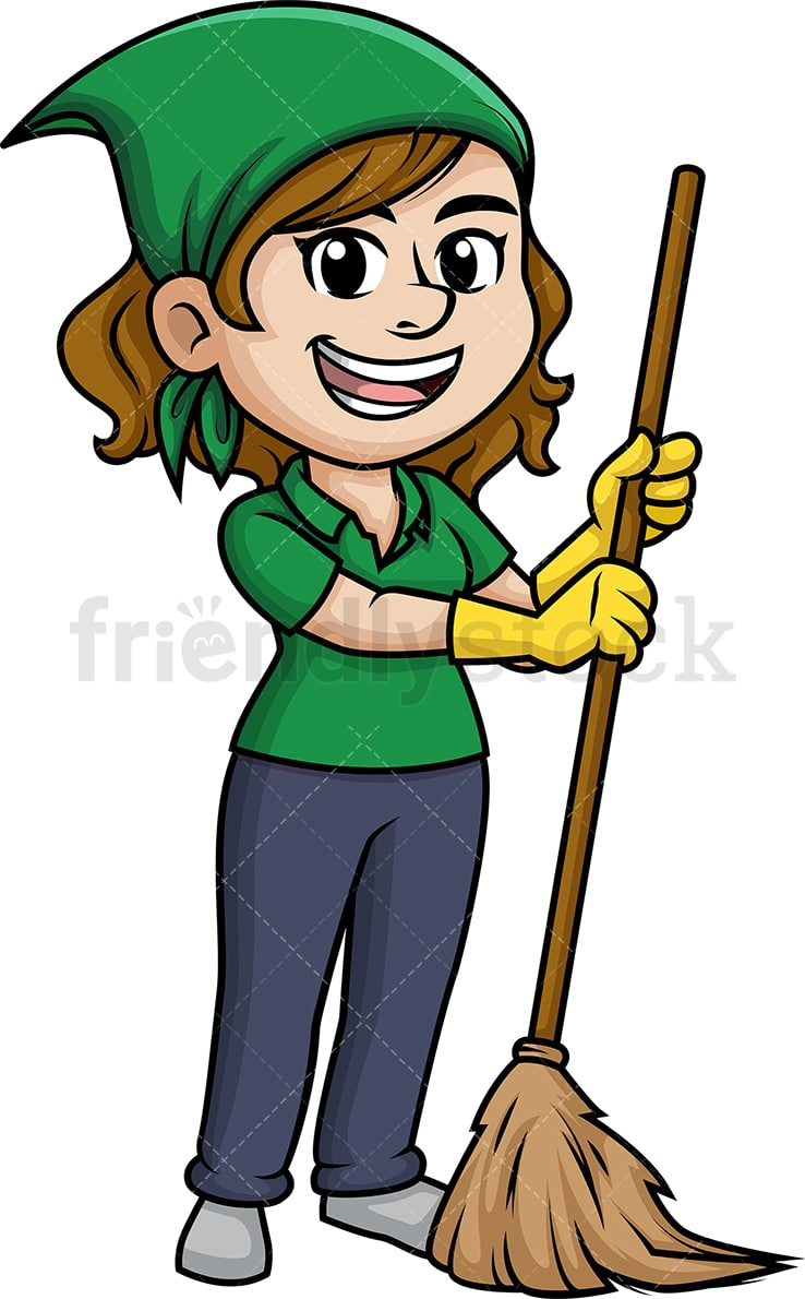 Woman Sweeping The Floor With Broom