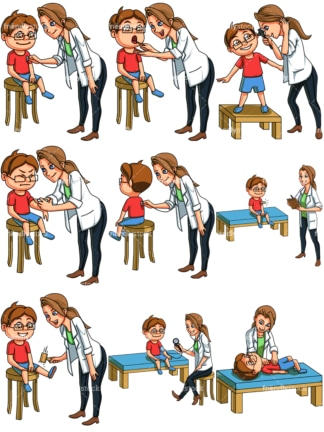 Little boy at the doctor. PNG - JPG and vector EPS file formats (infinitely scalable). Images isolated on transparent background.