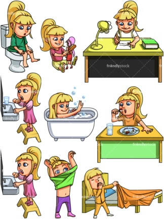 Little girl evening routine. PNG - JPG and vector EPS file formats (infinitely scalable). Images isolated on transparent background.