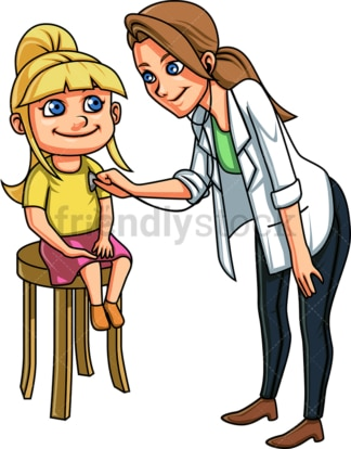 Pediatrician listening to girl's chest. PNG - JPG and vector EPS file formats (infinitely scalable). Image isolated on transparent background.