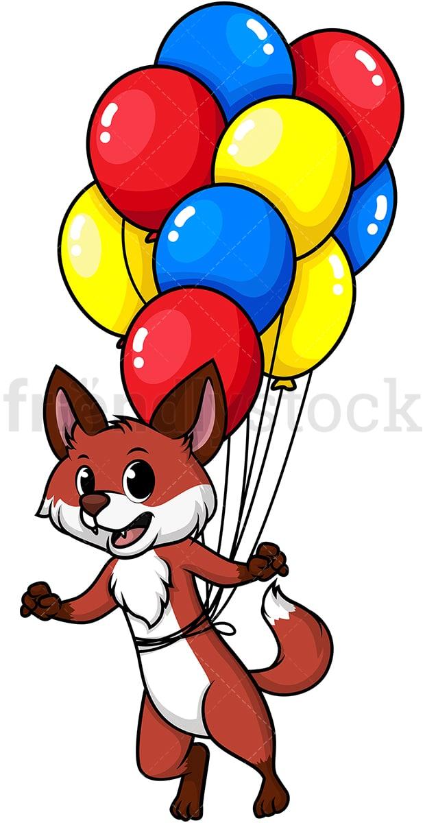 Fox Flying With Balloons Cartoon Clipart Vector Friendlystock