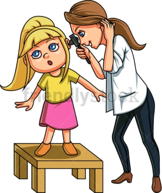 Doctor checking little girl's ears. PNG - JPG and vector EPS file formats (infinitely scalable). Image isolated on transparent background.