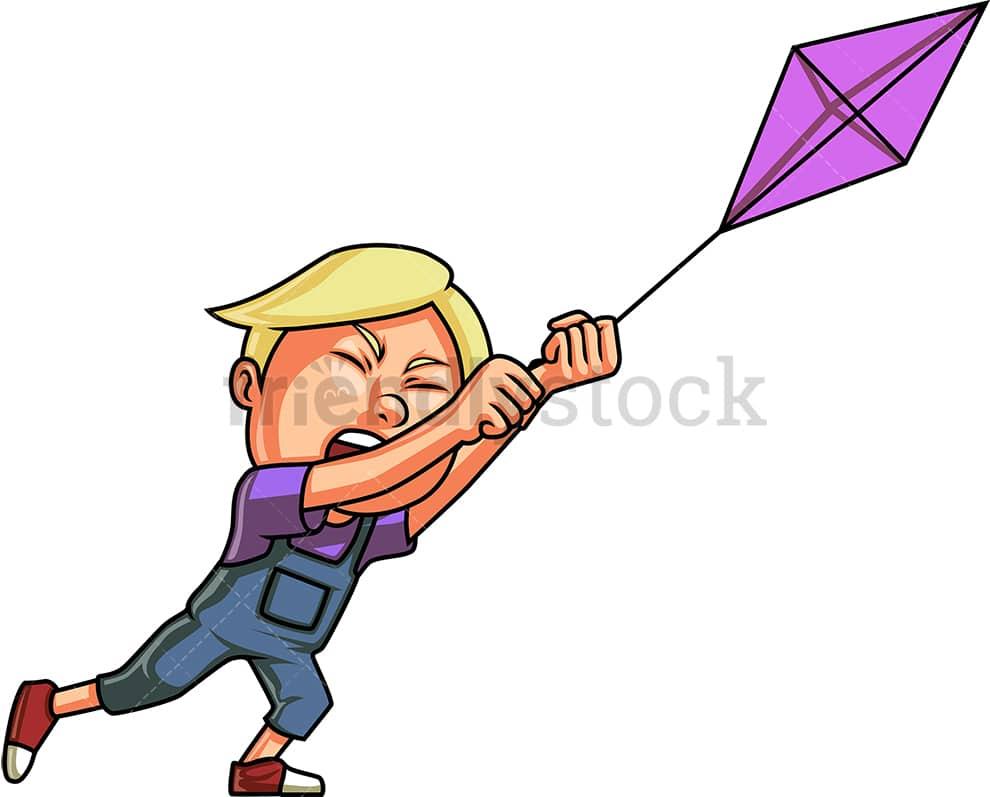 Boy Flying Kite Cartoon Vector Clipart Friendlystock