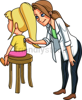 Doctor listening to little girl's back. PNG - JPG and vector EPS file formats (infinitely scalable). Image isolated on transparent background.