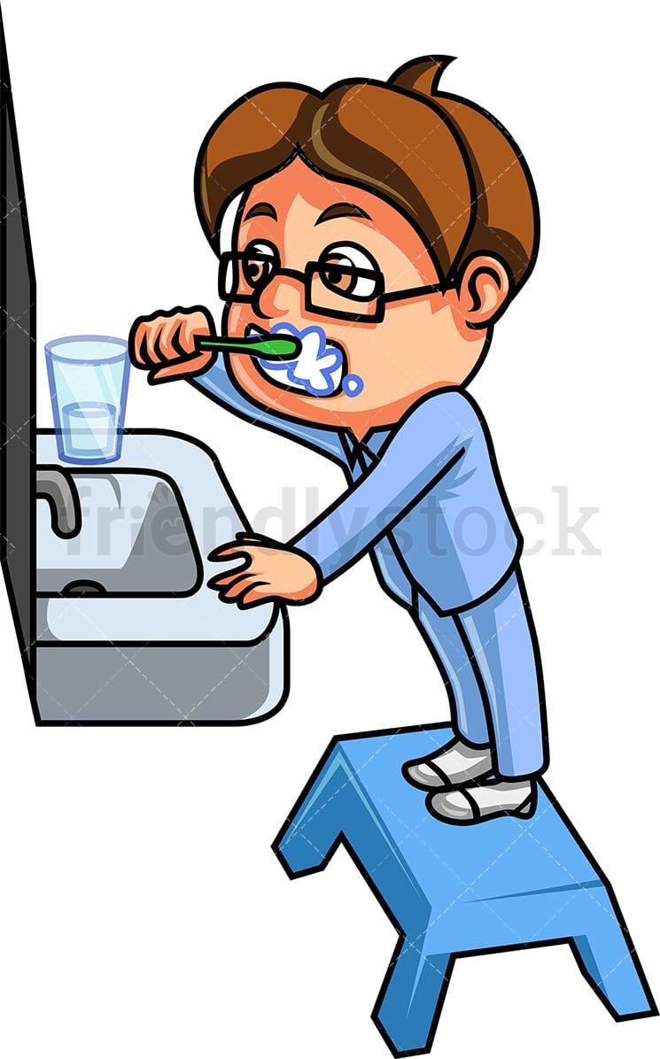 Kid Brushing His Teeth Cartoon Vector Clipart Friendlystock