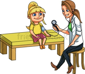 Doctor taking blood pressure from girl. PNG - JPG and vector EPS file formats (infinitely scalable). Image isolated on transparent background.
