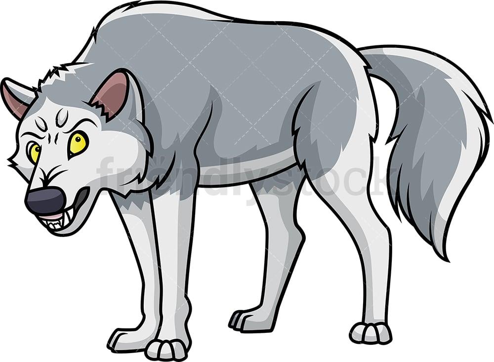 Angry Wolf Cartoon Clipart Vector Friendlystock