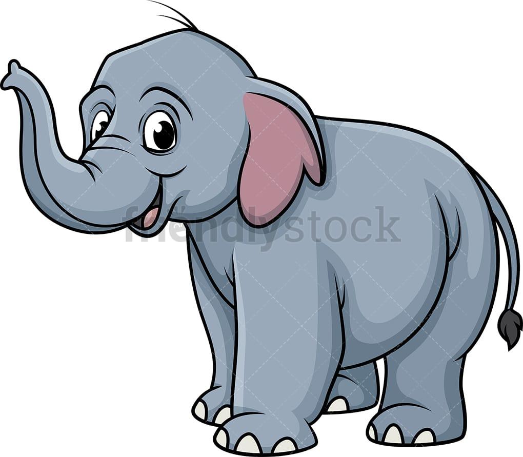 Smiling Elephant Cartoon Clipart Vector Friendlystock