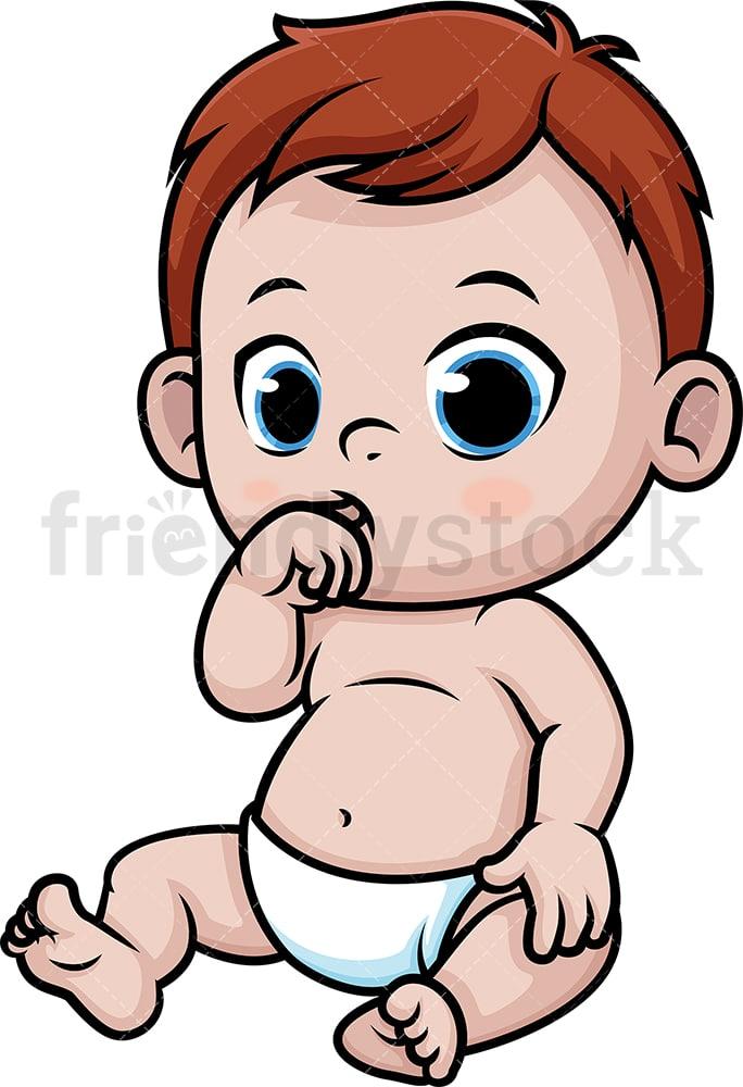 Baby Boy Sucking His Thumb Cartoon Clipart Vector Friendlystock