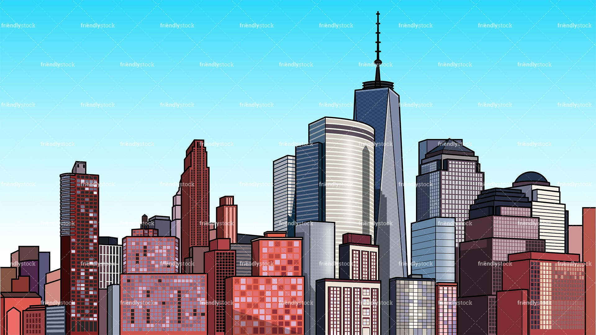 Modern City Background Cartoon Clipart Vector Friendlystock