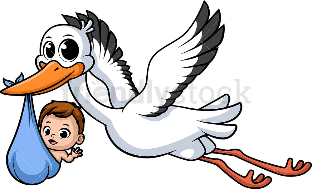 Stork Carrying Baby Cartoon Clipart Vector Friendlystock