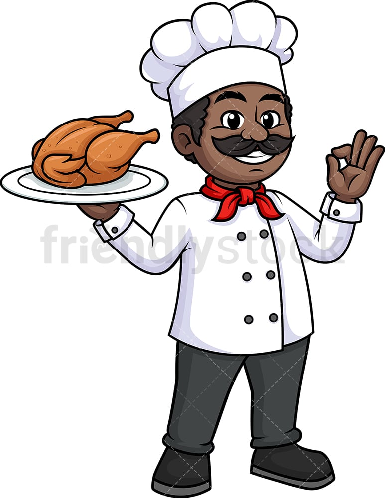 Black Male Chef Holding Chicken Cartoon Clipart Vector Friendlystock