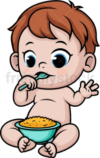 Baby eating. PNG - JPG and vector EPS (infinitely scalable).