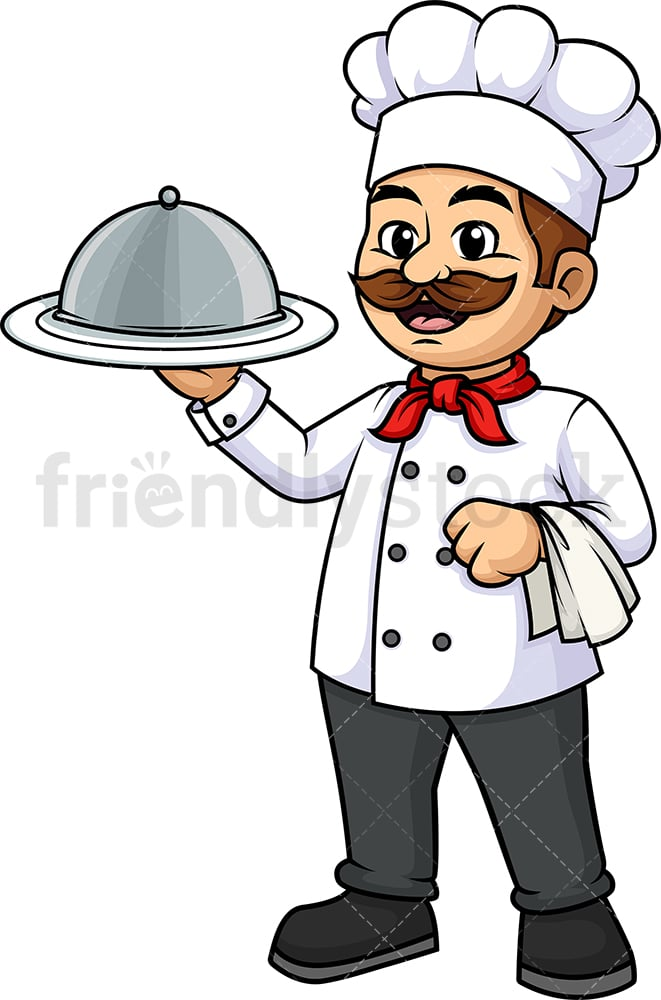 Male Chef Holding Spatula Cartoon Clipart Vector Friendlystock
