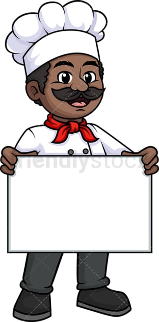 Black male chef holding empty sign. PNG - JPG and vector EPS (infinitely scalable).