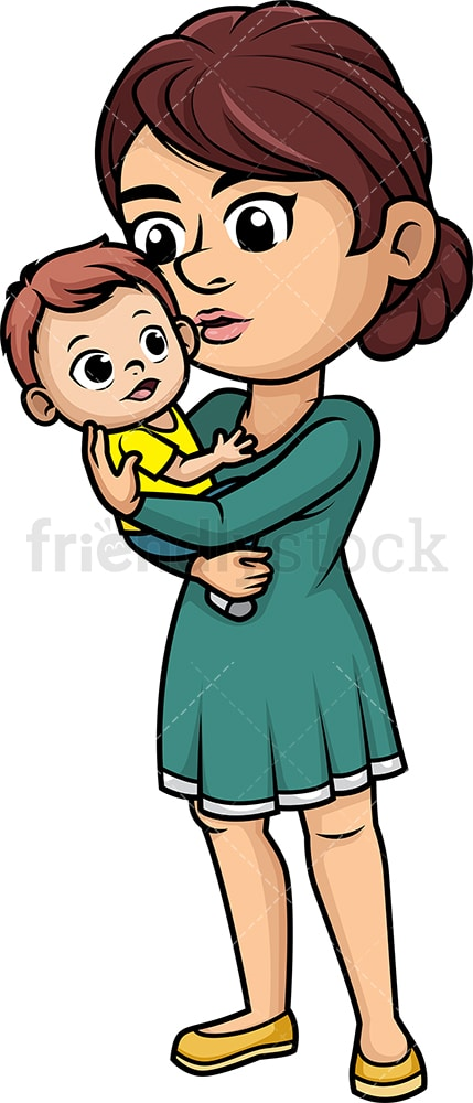 Mom Kissing Her Baby Cartoon Vector Clipart Friendlystock