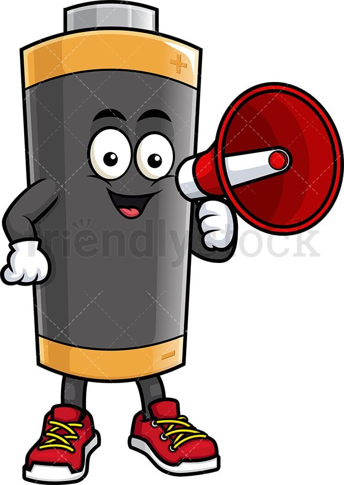 battery mascot holding loudspeaker cartoon clipart vector friendlystock battery mascot holding loudspeaker cartoon clipart vector friendlystock