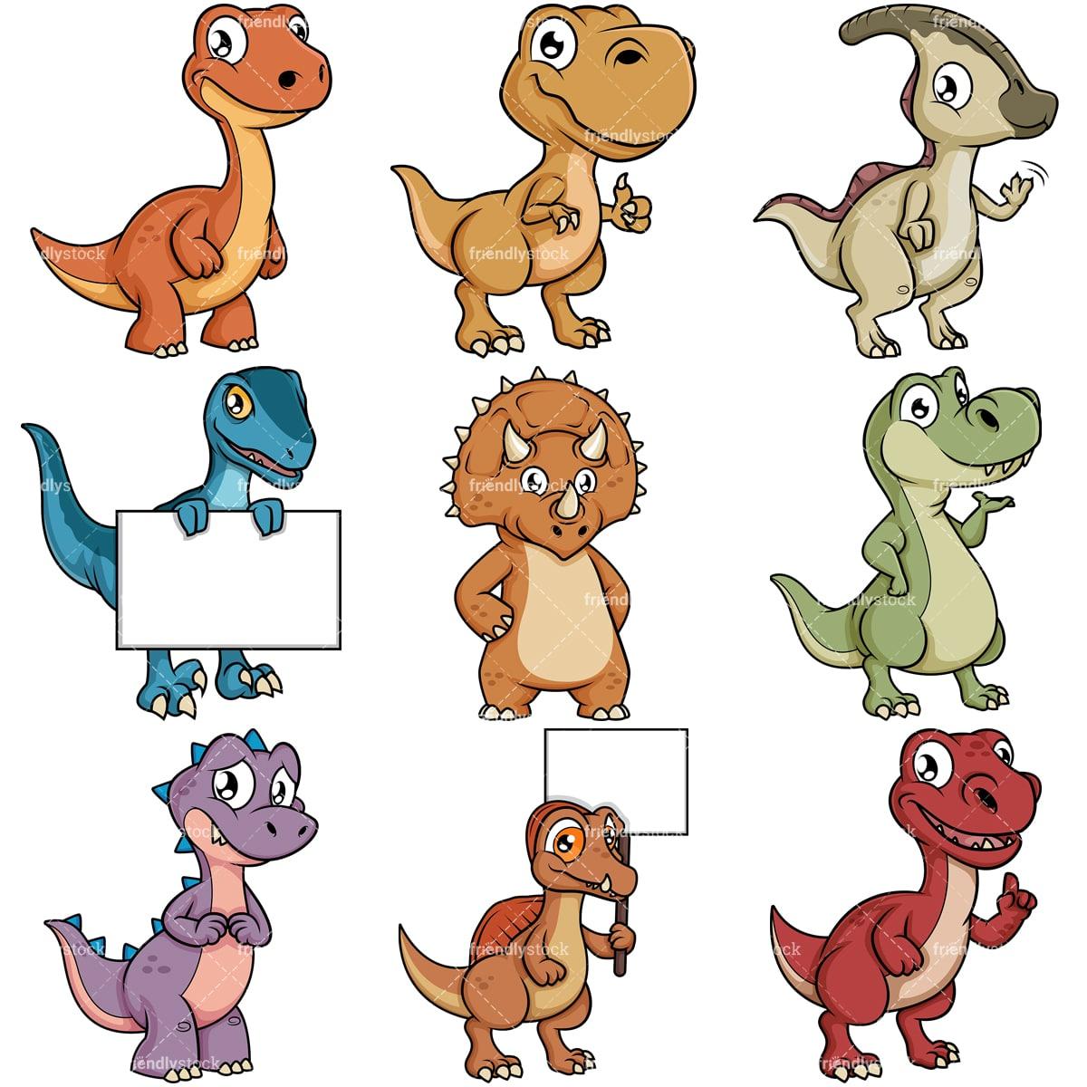 Cute Dinosaur Cartoon Characters Vector Clipart Friendlystock