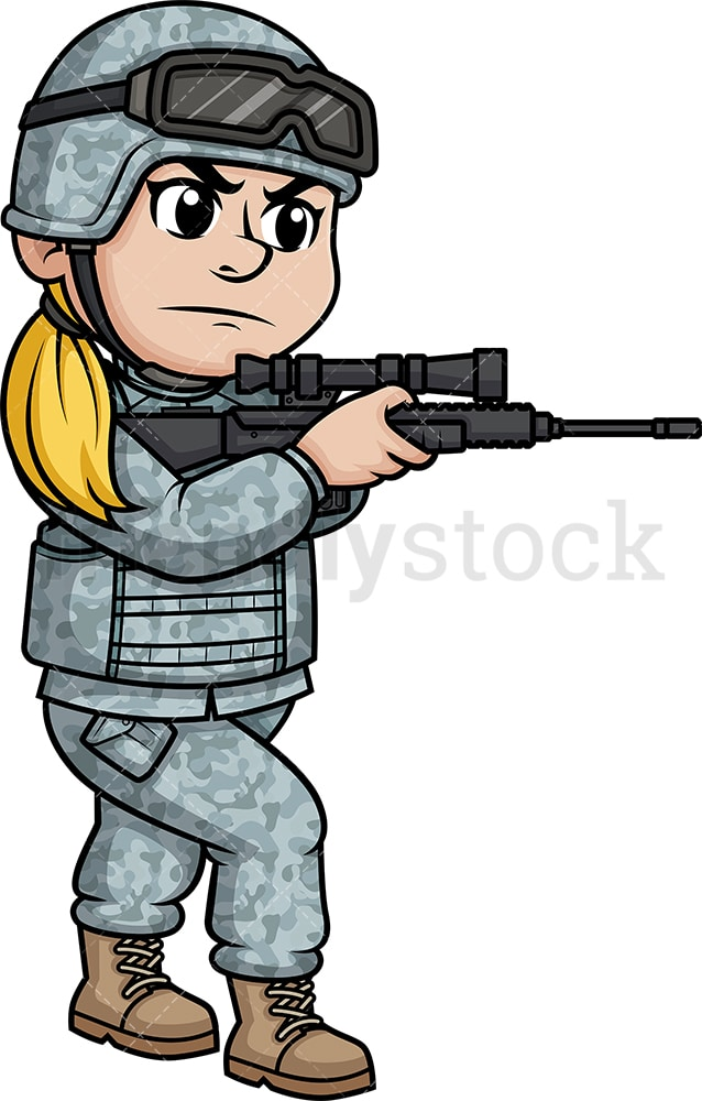 Female Soldier Aiming With Weapon