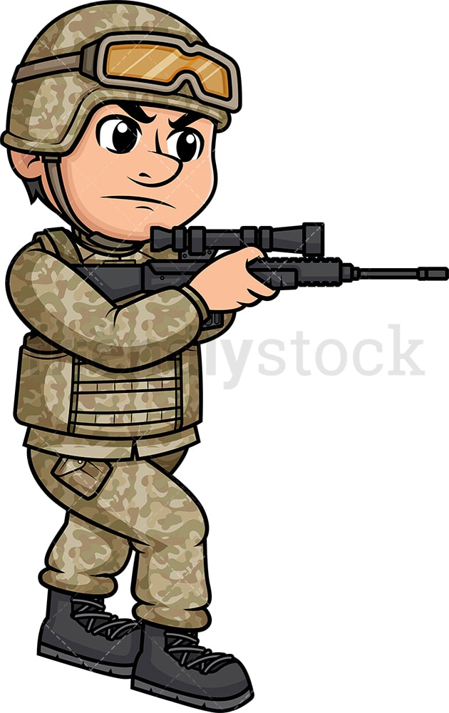 Male Soldier Holding A Rifle And Aiming